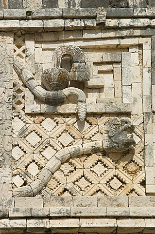 Uxmal, UNESCO World Heritage Site, Cuadrangulo de las Monjas, The Nunnery Quadrangle, wall carvings, Yucatan, Mexico