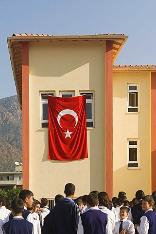 School children paying homage to Mustapha Kemal Atatuerk, Didyma, Turkey