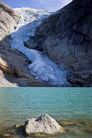 Briksdalsbreen glacier with glacial lake, Norway, Scandinavia, Europe