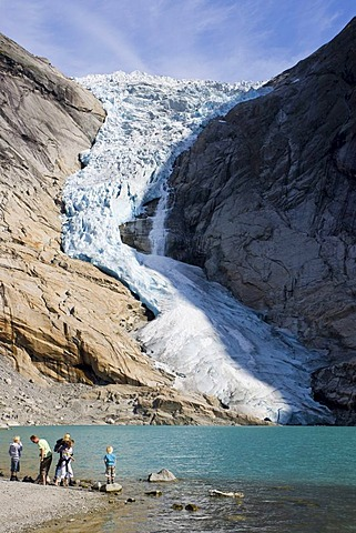 Ice breaking off the Briksdalsbreen glacier and crashing down to the valley, Norway, Scandinavia, Europe