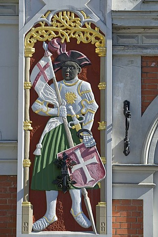 Detail, crest on the House of the Blackheads, Riga, Latvia, Baltic States