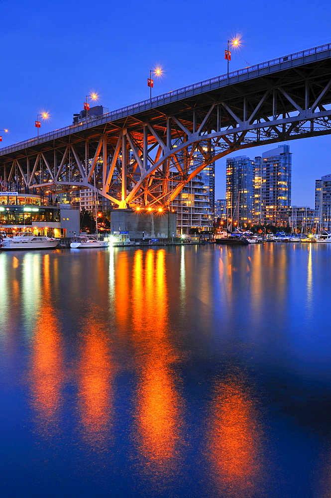 Skyline of Vancouver Down town in the evening light, on False Creek, Granville Street Bridge, British Columbia, Canada, North America