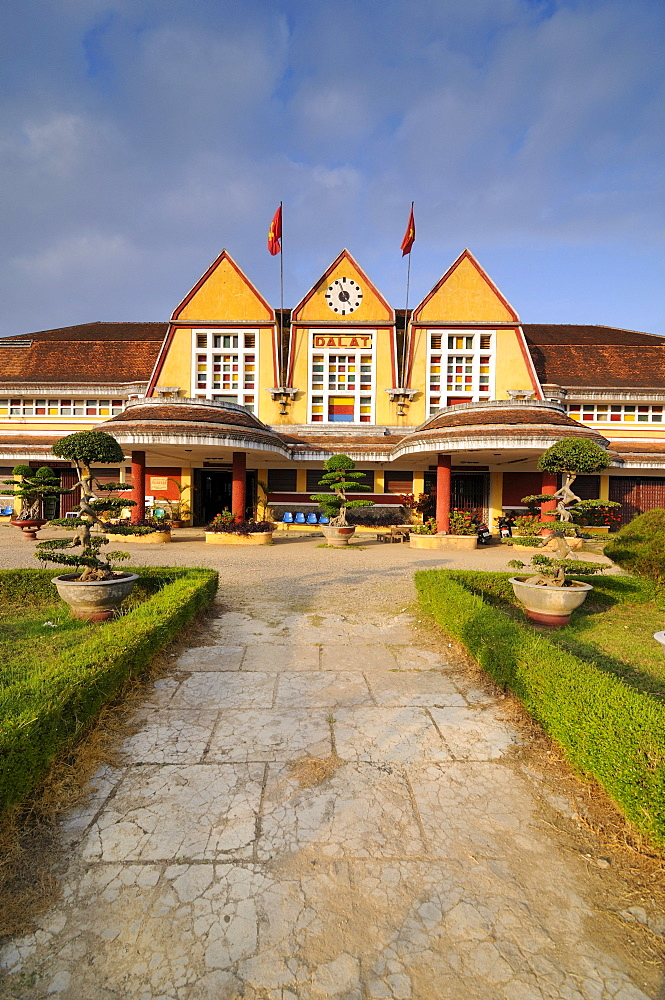 Building of the old railway station, Dalat, Central Highlands, Vietnam, Asia