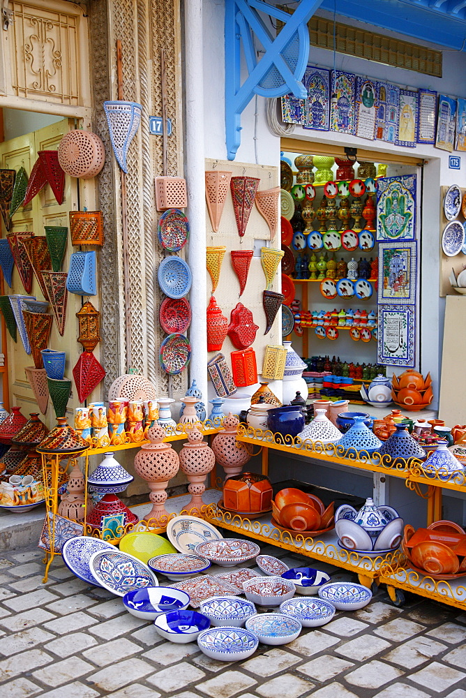 Souvenir shops, Arab ceramics, Hammamet, Tunisia, Northern Africa