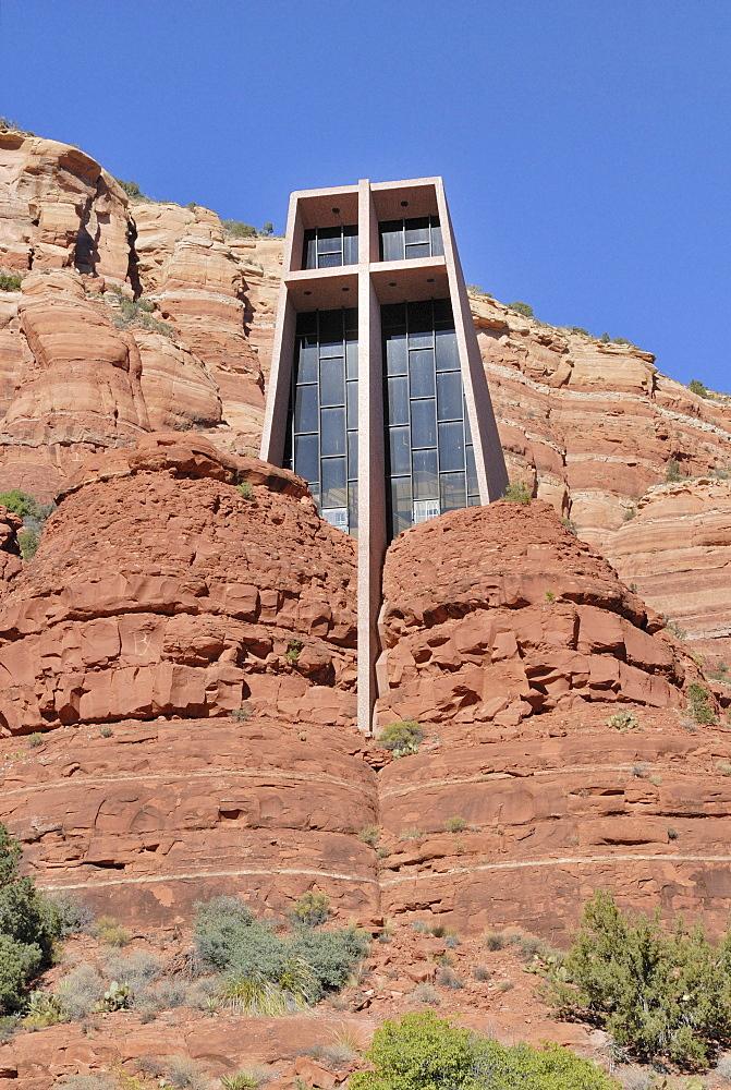 Chapel of the Holy Cross, modern rock church from the '50s, Sedona, Arizona, USA