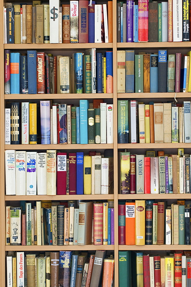 Full bookcase, second hand bookshop, fiction