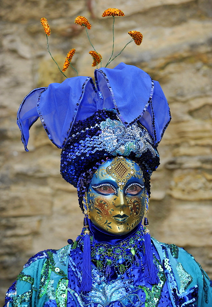 "Life in the Baroque period of the 18th Century, Venetian mask ""Blue Flower"", Schiller Jahrhundertfest century festival, Marbach am Neckar, Baden-Wuerttemberg, Germany, Europe"