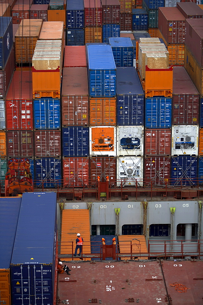Container ship, deck, container, sailor