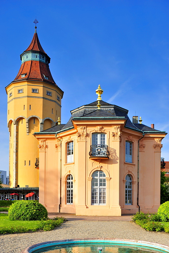Water tower with Pagodenburg garden palace, Rastatt, Black Forest, Baden-Wuerttemberg, Germany, Europe