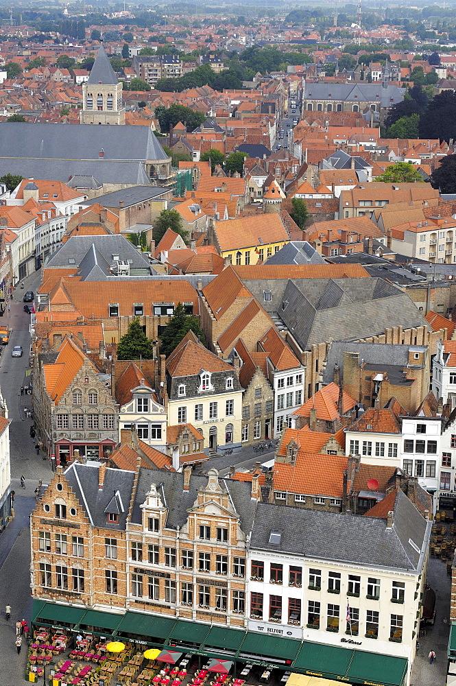 Markt, Market Place, view from the Belfry, Bruges, West Flanders, Belgium, Europe
