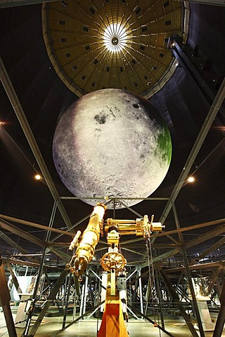 25 meter diameter model of the Moon, Out of this World ? Wonders of the Solar System, exhibition in the Gasometer, a former gas tank, Oberhausen, Ruhr Area, North Rhine-Westphalia, Germany, Europe