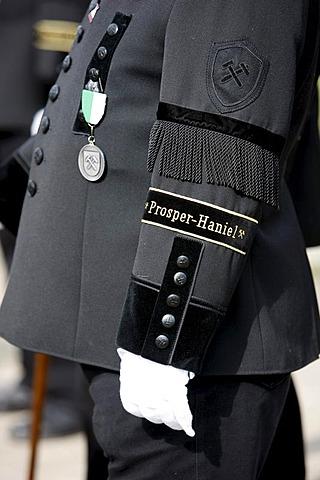 Retired miner wearing miner's uniform, Prosper-Haniel mine, Bottrop, Ruhr Area, North Rhine-Westphalia, Germany, Europe