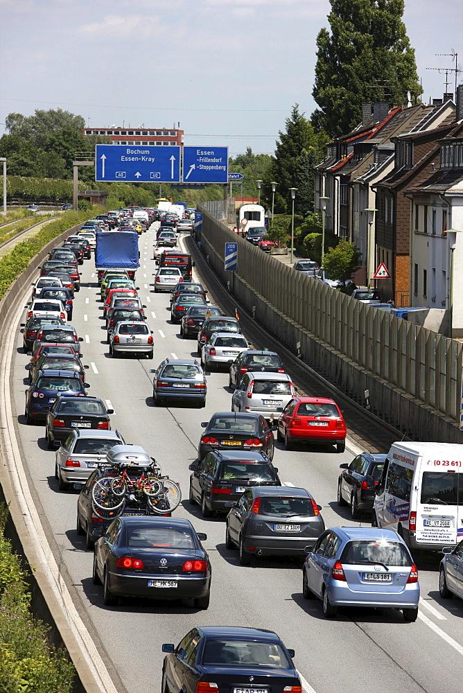 Congestions on autobahn A40, Ruhr freeway, heading to Bochum, Essen, North Rhine-Westphalia, Germany, Europe