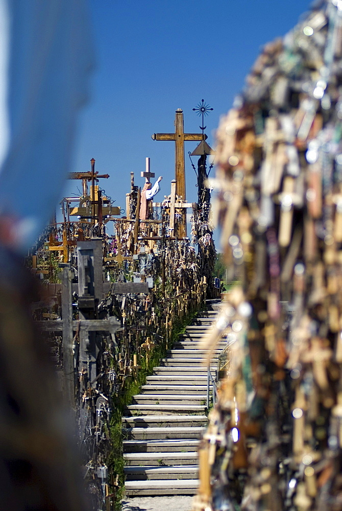 Thousands of crosses alongside the stairs of the central aisle on the Hill of Crosses, Siauliai, Lithuania, Europe