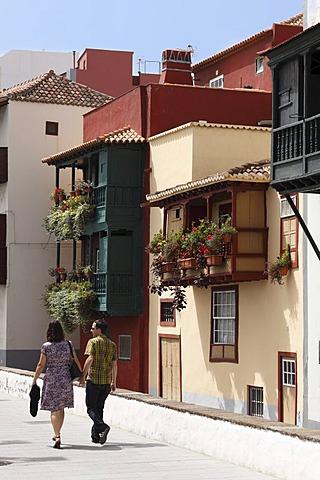 Balcony houses, Avenida Maritima, Santa Cruz de la Palma, La Palma, Canary Islands, Spain