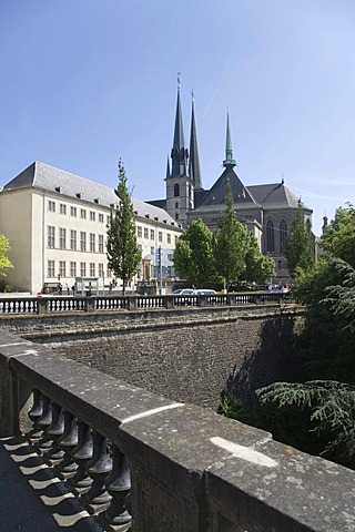 View of the Notre-Dame Cathedral and National Library building from the Place de la Constitution, Luxembourg