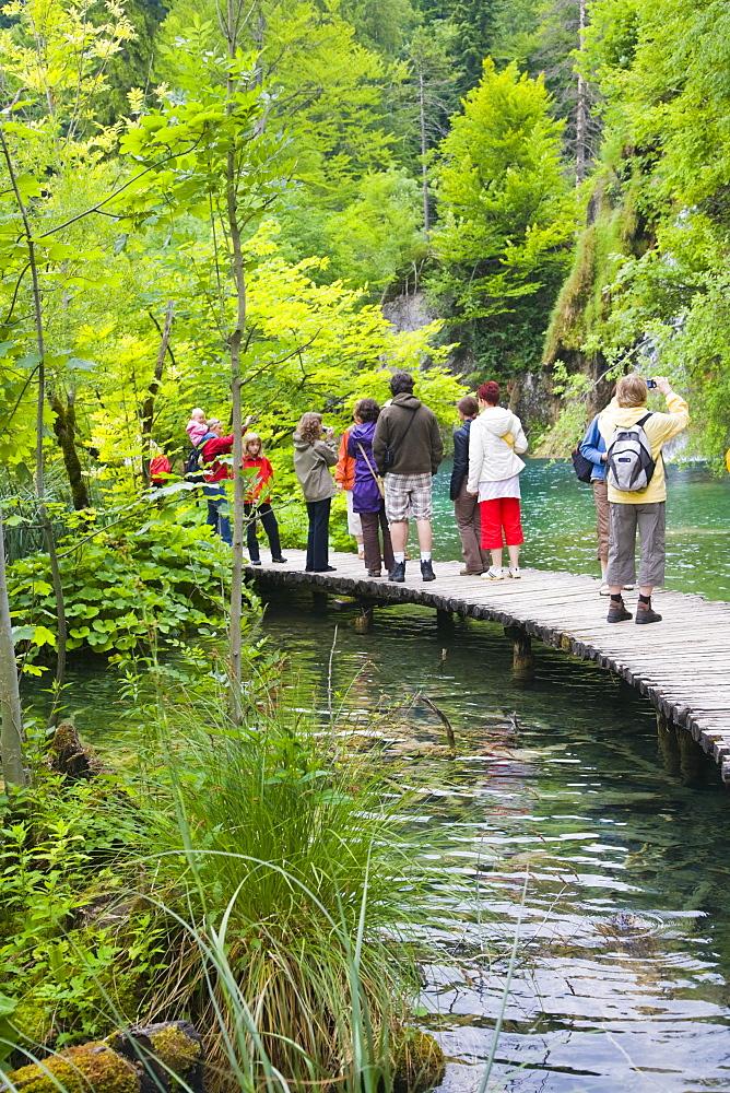 Tourists on the path at Plitvicka Jezera, Plitvice Lakes National Park, Lika-Senj, Croatia, Europe