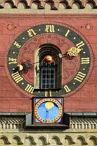 Clockface and lunar calendar on the bell tower of the Church of St. Michael, Schwaebisch Hall, Schwaebisch Hall district, Baden-Wuerttemberg, Germany, Europe