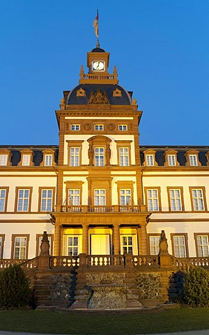 Garden view of the palace with terrace, Schloss Philippsruhe palace, Hanau, Hesse, Germany
