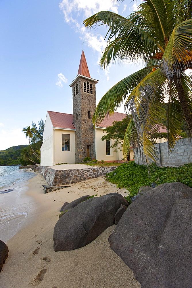 RC Church on Anse Royal Beach, Mahe Island, Seychelles, Indian Ocean, Africa