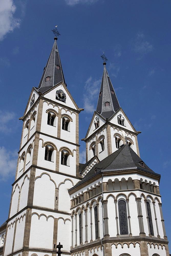 The romanic St. Severus church of 1236, Boppard, Rhein-Hunsrueck-Kreis district, Rhineland-Palatinate, Germany, Europe
