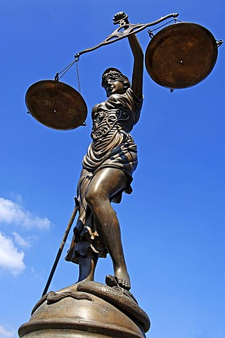 Bronze statue of Lady Justice against a blue sky, Bamberg, Upper Franconia, Bavaria, Germany, Europe