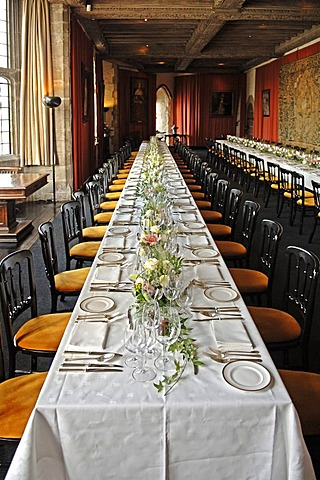 Laid wedding table in Leeds Castle, Leeds, county of Kent, England, Europe