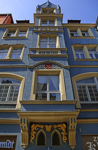 Decorative facade of a town house, bay windows, Regensburg, Upper Palatinate, Bavaria, Germany, Europe