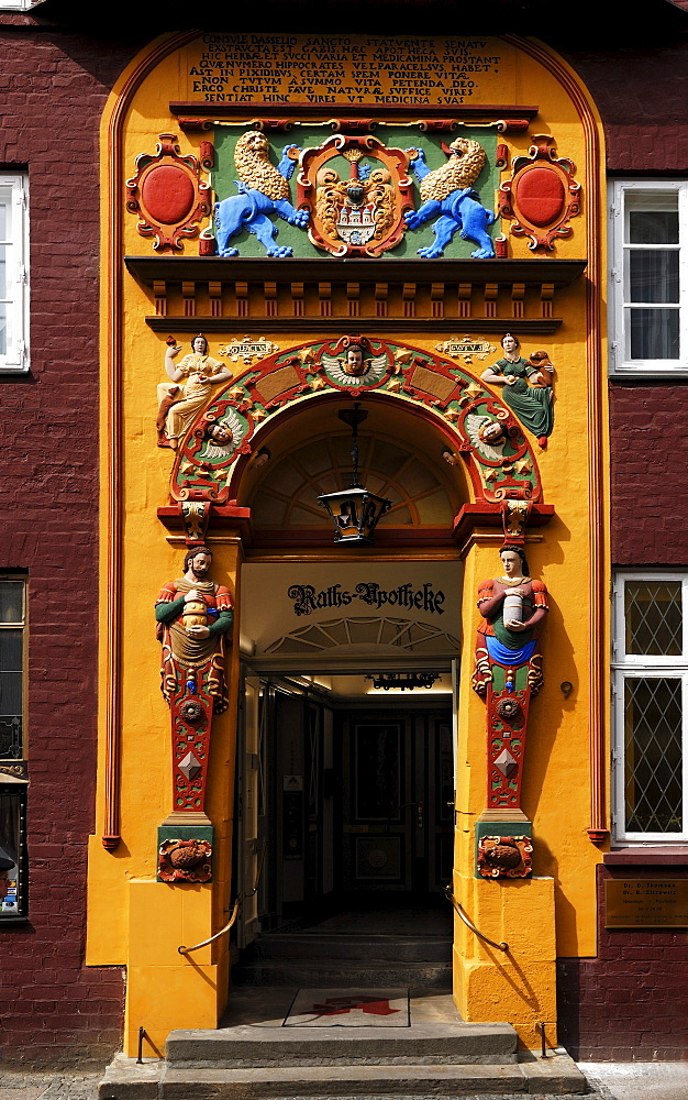 Colourful Renaissace entrance portal of the Raths-Apotheke pharmacy, detail, Lueneburg, Lower Saxony, Germany, Europe