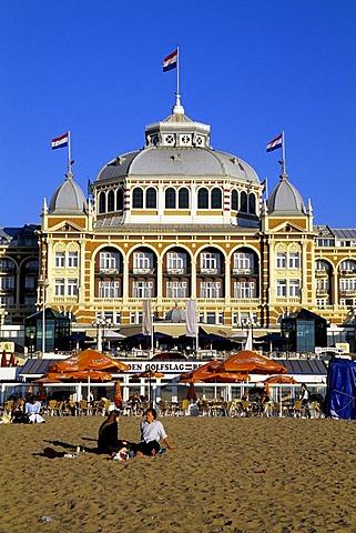 Steigenberger Kurhaus Hotel, a luxury hotel on the beach of Scheveningen, a sophisticated seaside resort neighbouring Den Haag on the Dutch North Sea coast, province of South Holland, Zuid Holland, the Netherlands, Europe