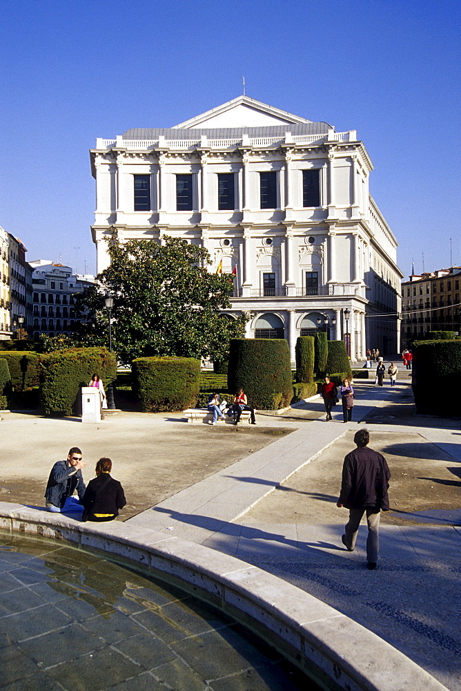 Fountain at Teatro Real, opera and theatre building, Plaza de Oriente, Madrid, Spain, Europe