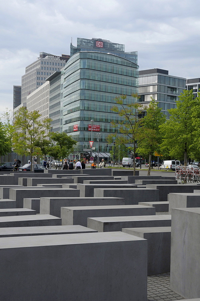 Holocaust memorial, skyscrapers Potsdamer Platz square, Berlin, Germany, Europe