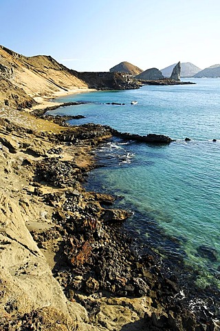Lava formations, bay, Pinnacle Rock, Bartolome Island, Galapagos Achipelago, UNESCO World Heritage Site, Ecuador, South America, Pacific