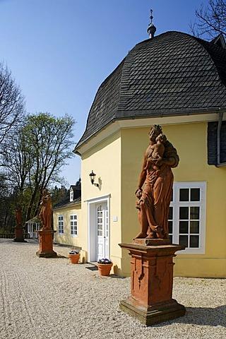 Orangery, civil registry, palace garden, statues, Berleburg Castle, Bad Berleburg, district of Siegen-Wittgenstein, Rothaarsteig, North Rhine-Westphalia, Germany, Europe