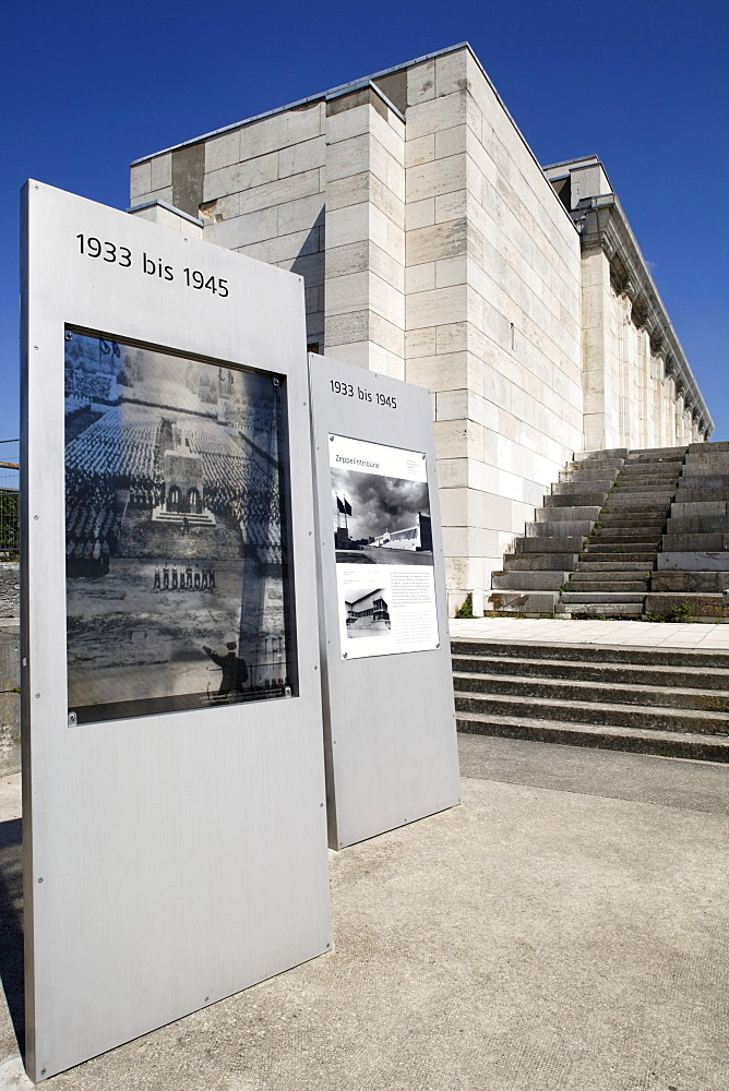 Information board for Adolf Hitler's tribune in front of the Zeppelinfeld field, Reichsparteitagsgelaende Nazi party rally grounds, the Third Reich, Nuremberg, Middle Fraconia, Franconia, Bavaria, Germany, Europe