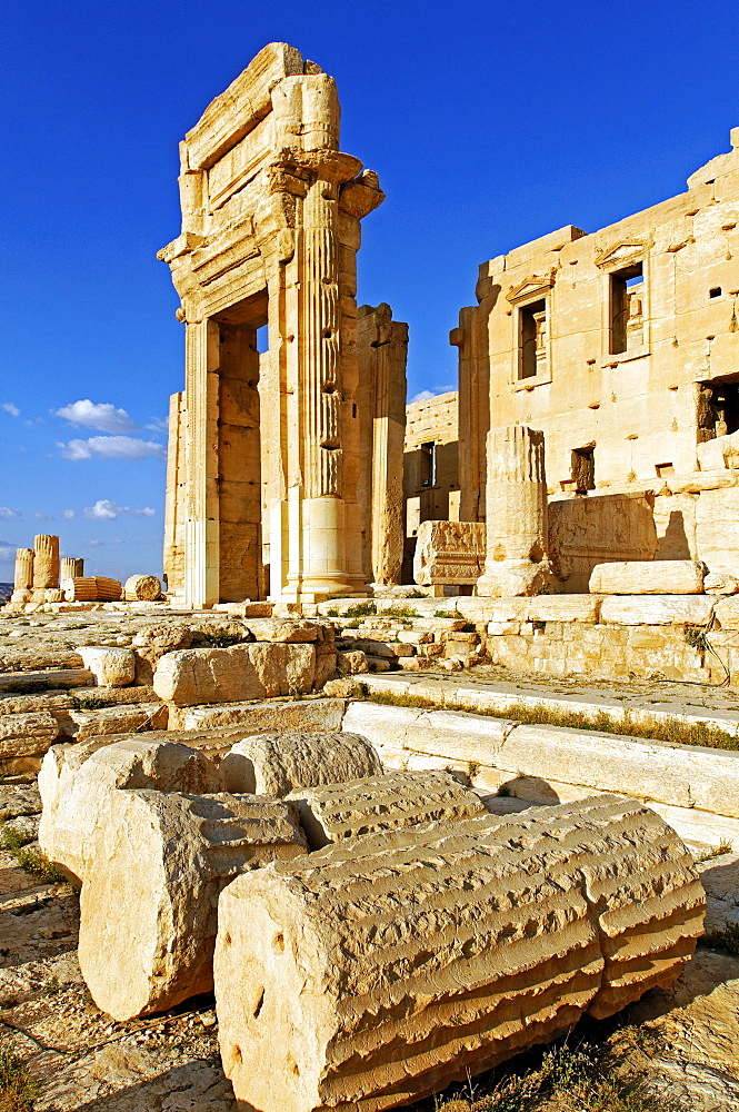Temple of Baal Shamin in the ruins of the Palmyra archeological site, Tadmur, Syria, Asia