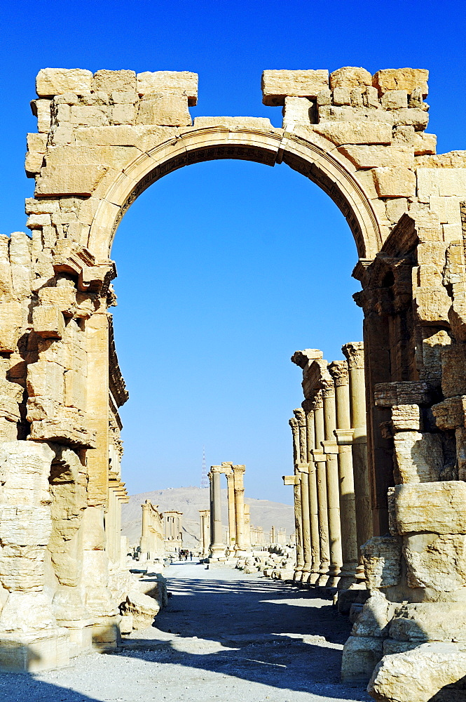 Hadrian's Gate, entrance to the excavation site of Palmyra, Tadmur, Syria, Asia