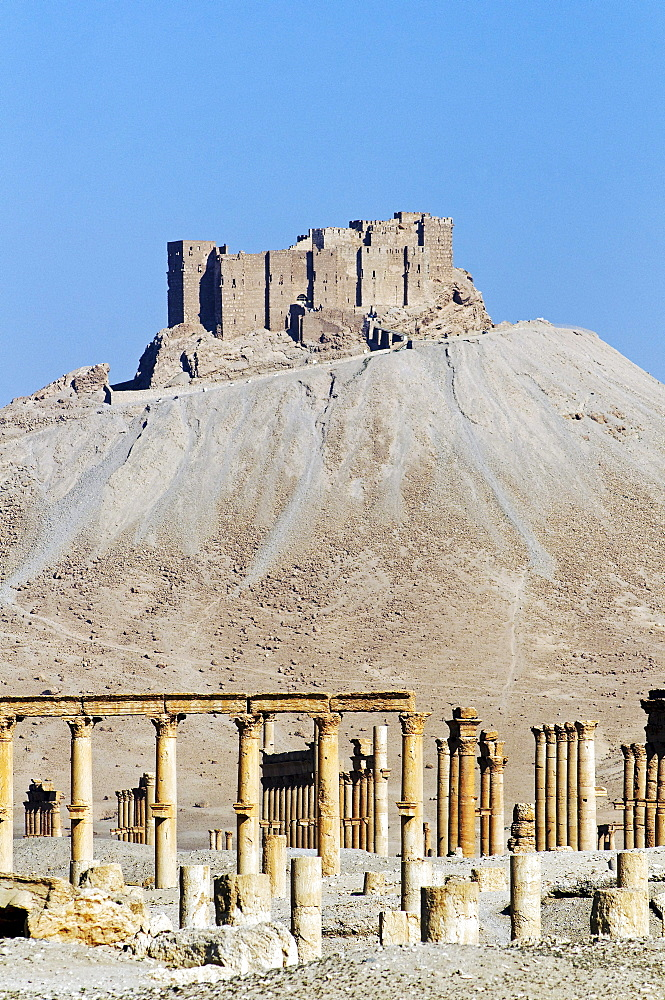 Ruins of the Palmyra archeological site, in the back Qala'at Ibn Ma'n castle, Tadmur, Syria, Asia