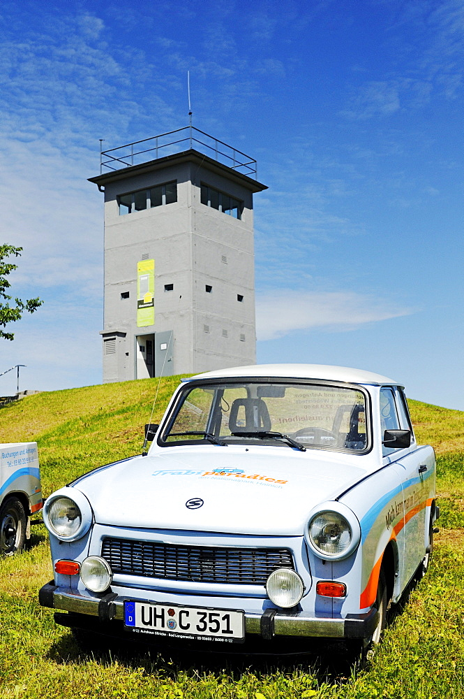 Trabi car in front of the museum and memorial in the border tower Katharinenberg at the former inner-German border, Thuringia, Germany, Europe