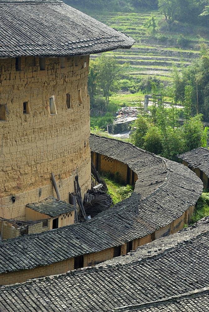 Round House, Chinese: Tulou, adobe round house of the Hakka minority, Hukeng, Fujian, China, Asia