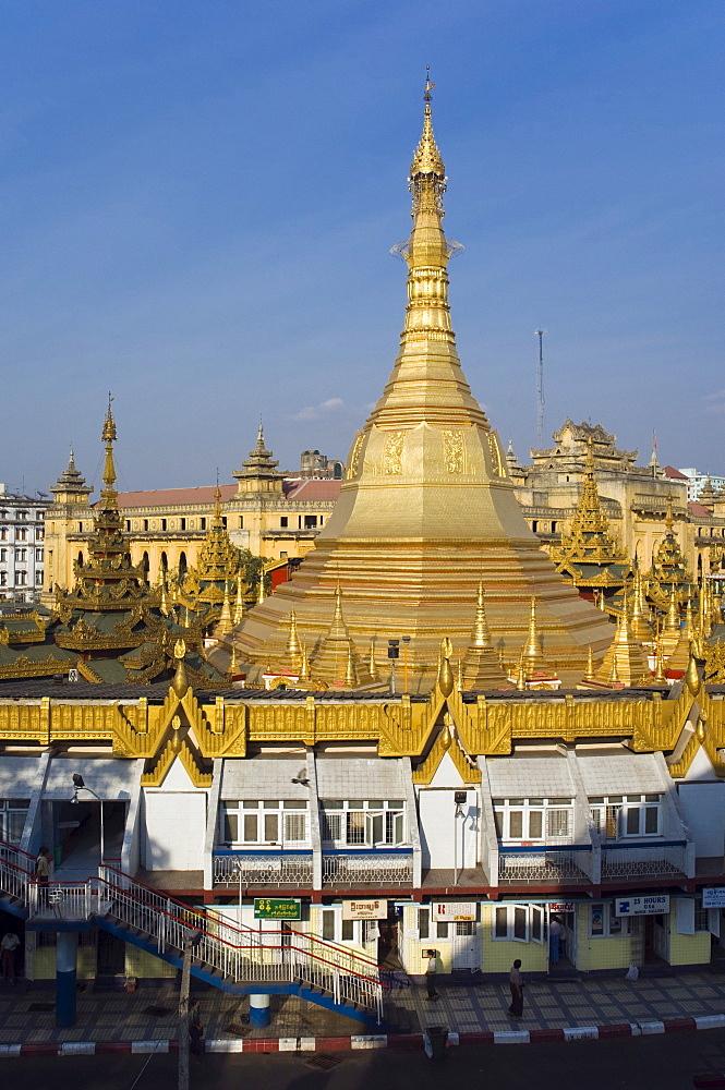 Panoramic view, Sule pagoda, Chedi, Buddhist temple, Rangoon, Yangon, Burma, Myanmar, Asia