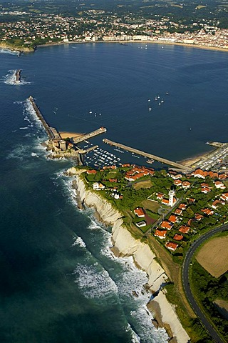 Aerial view of St Jean de Luz bay, France