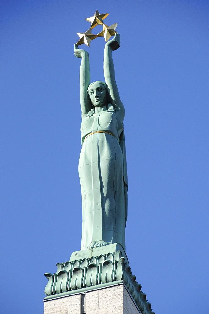 Freedom Monument, Brivibas Piemineklis, Brivibas iela, Old Town, Riga, Latvia, Baltic States, Europe