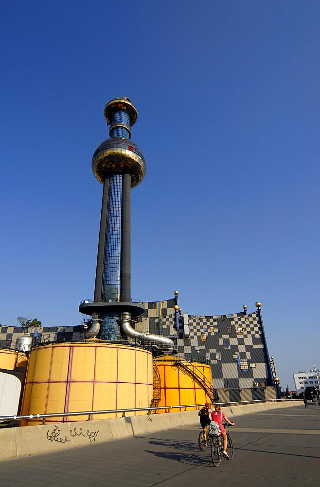 Incinerator and Heating Plant, Thermal power plant, designed by Friedensreich Hundertwasser, Spittelau, Vienna, Austria, Europe