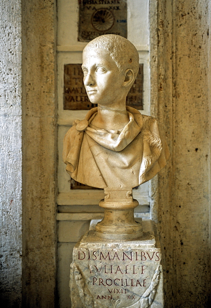 Ancient marble bust of a boy, gallery, Capitoline Museums, Palazzo Nuovo, Capitoline Hill, Rome, Lazio, Italy, Europe