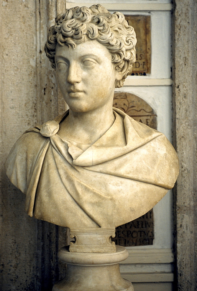 Ancient marble bust, Marcus Aurelius as a boy, gallery, Capitoline Museums, Palazzo Nuovo, Capitoline Hill, Rome, Lazio, Italy, Europe