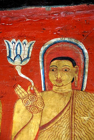 Buddhism, ancient wall painting, Buddha with nimbus holding lotus flower in his hand, Mulgirigala Temple, Mulkirigala, Ceylon, Sri Lanka, South Asia, Asia