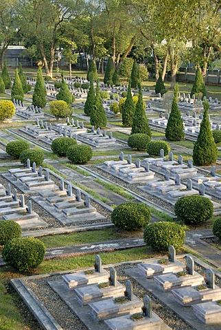 War graves, many tombstones of fallen Viet Minh soldiers, military cemetery, Dien Bien Phu, Vietnam, Southeast Asia, Asia
