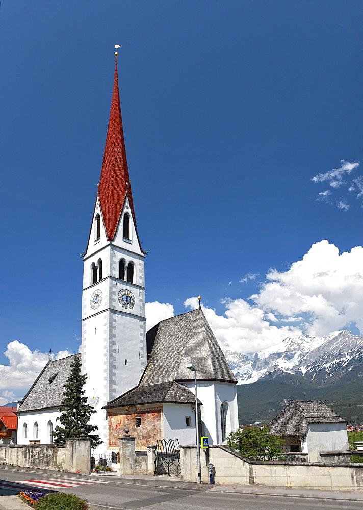 Parish church Pfaffenhofen, Inntal valley, Tyrol, Austria, Europe