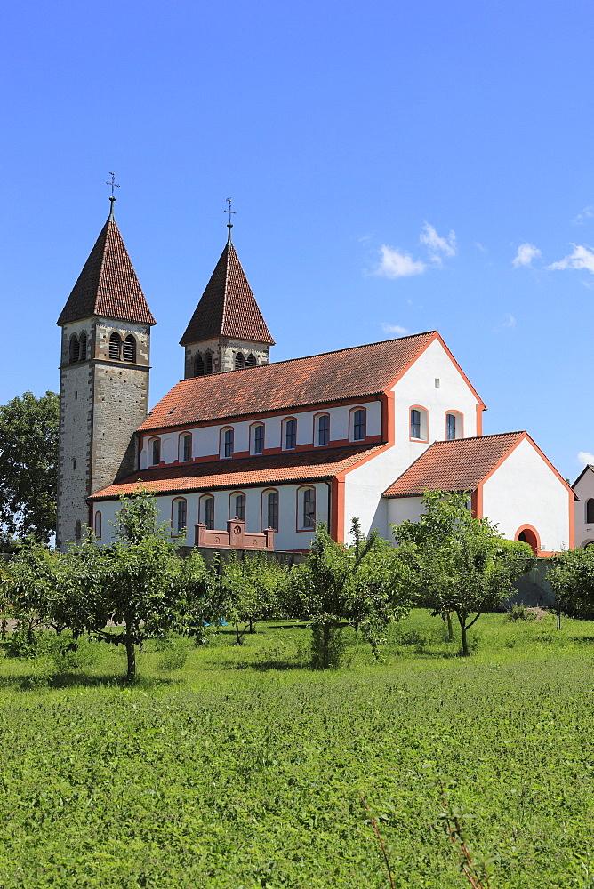 Monastery of St. Peter and Paul in Niederzell, Reichenau Island, Lake Constance, Konstanz district, Baden-Wuerttemberg, Germany, Europe